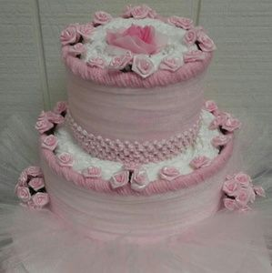 Other - Pink Baby Girl Shower 2 Tier Floral Diaper Cake